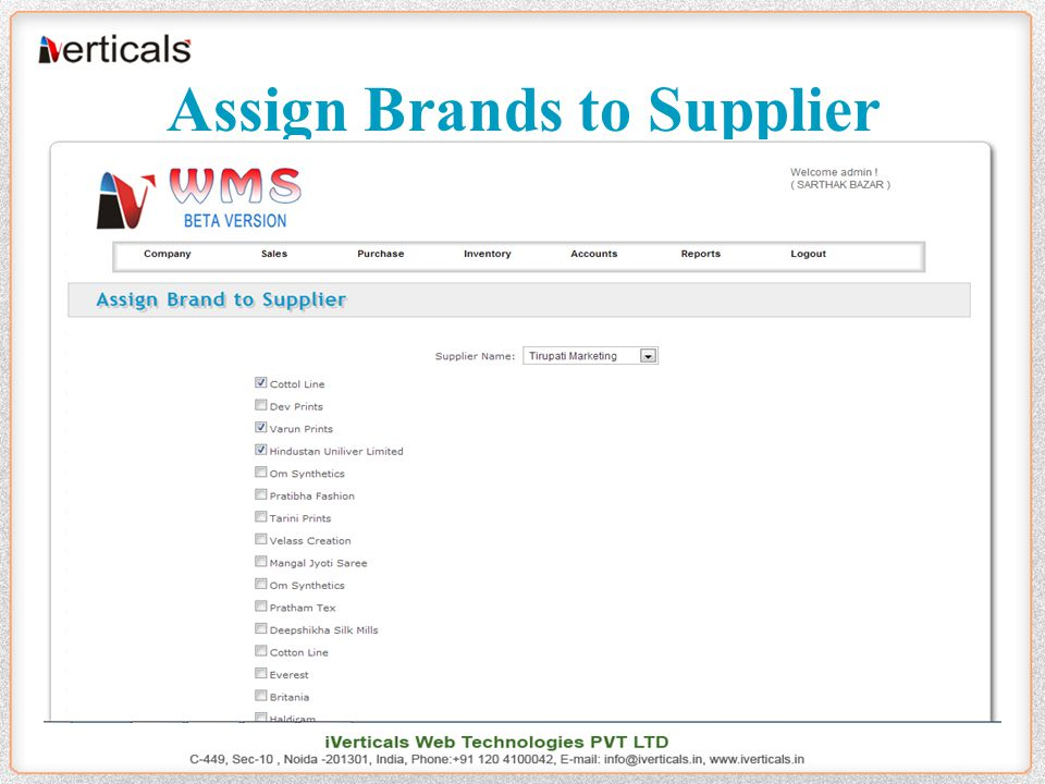 Assign Brands to Supplier