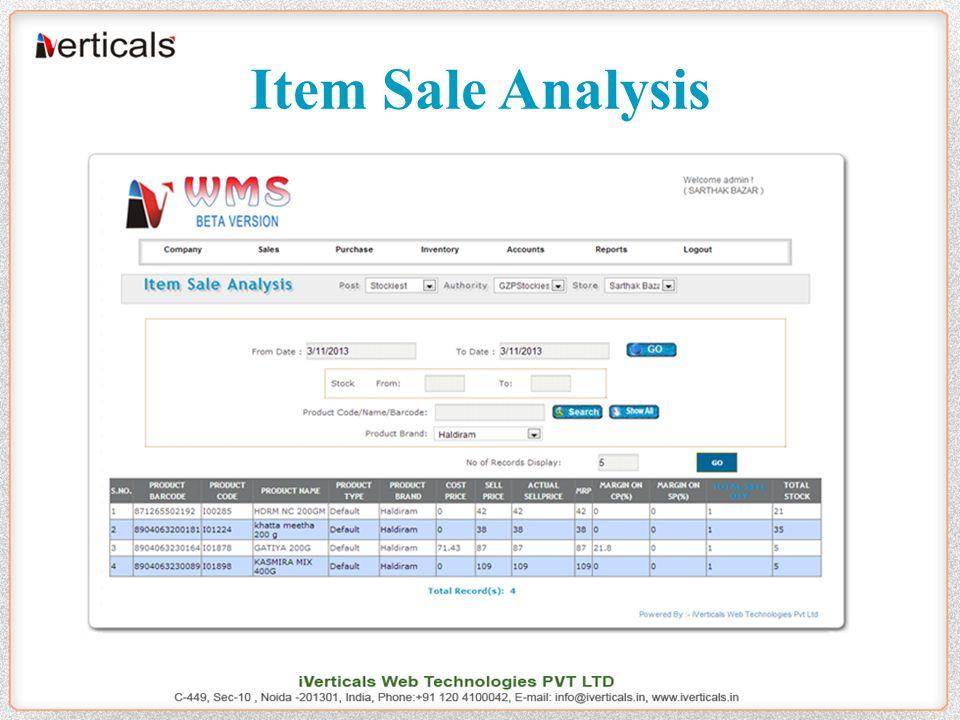 Item Sale Analysis