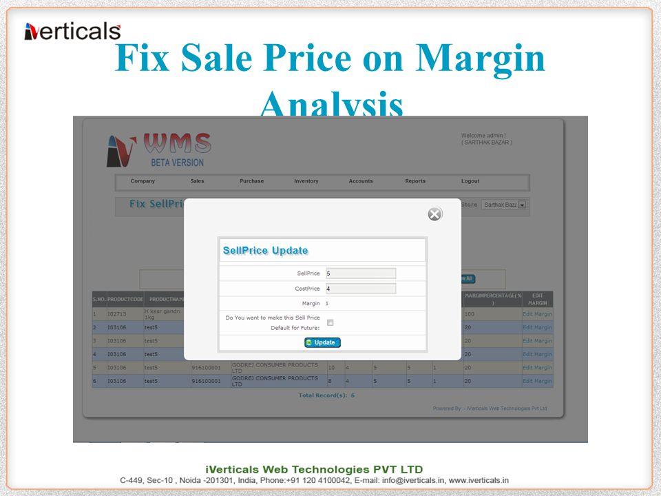 Fix Sale Price on Margin Analysis