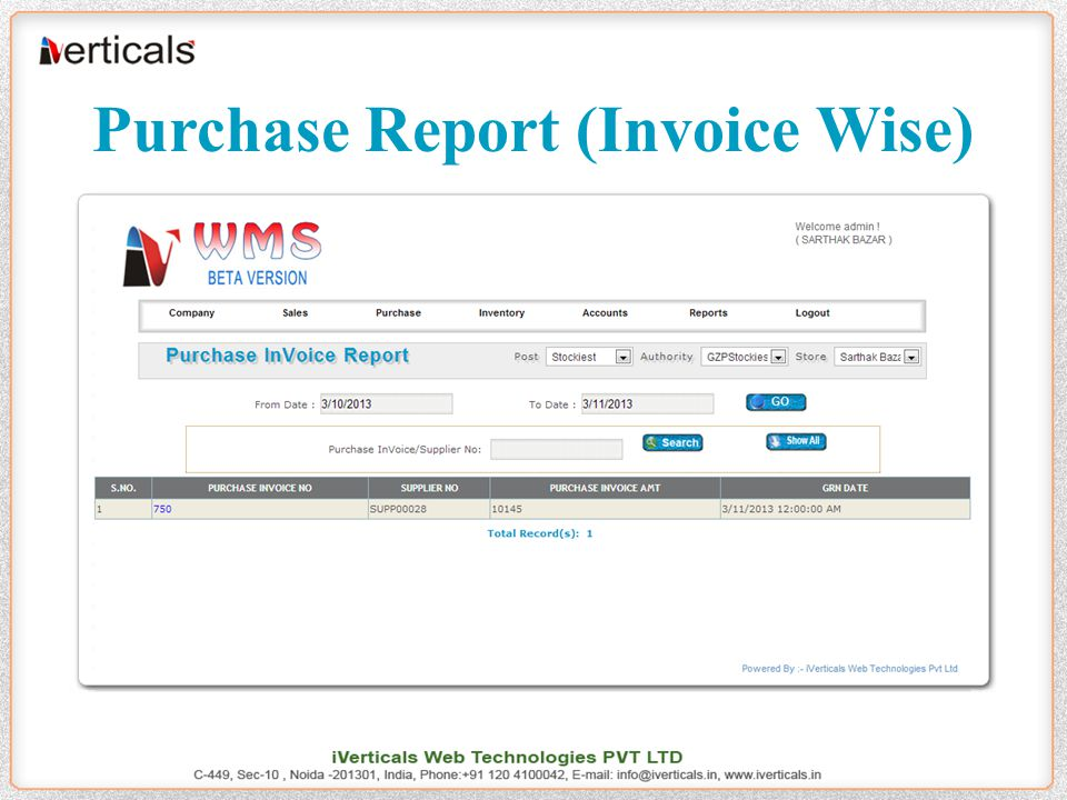 Purchase Report (Invoice Wise)