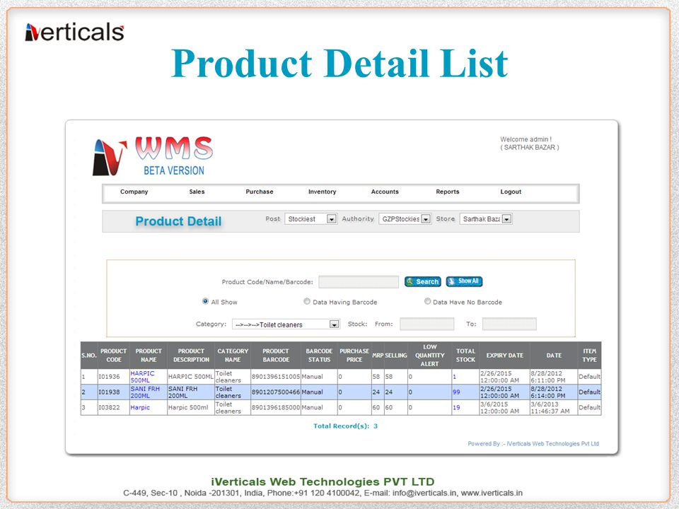 Product Detail List
