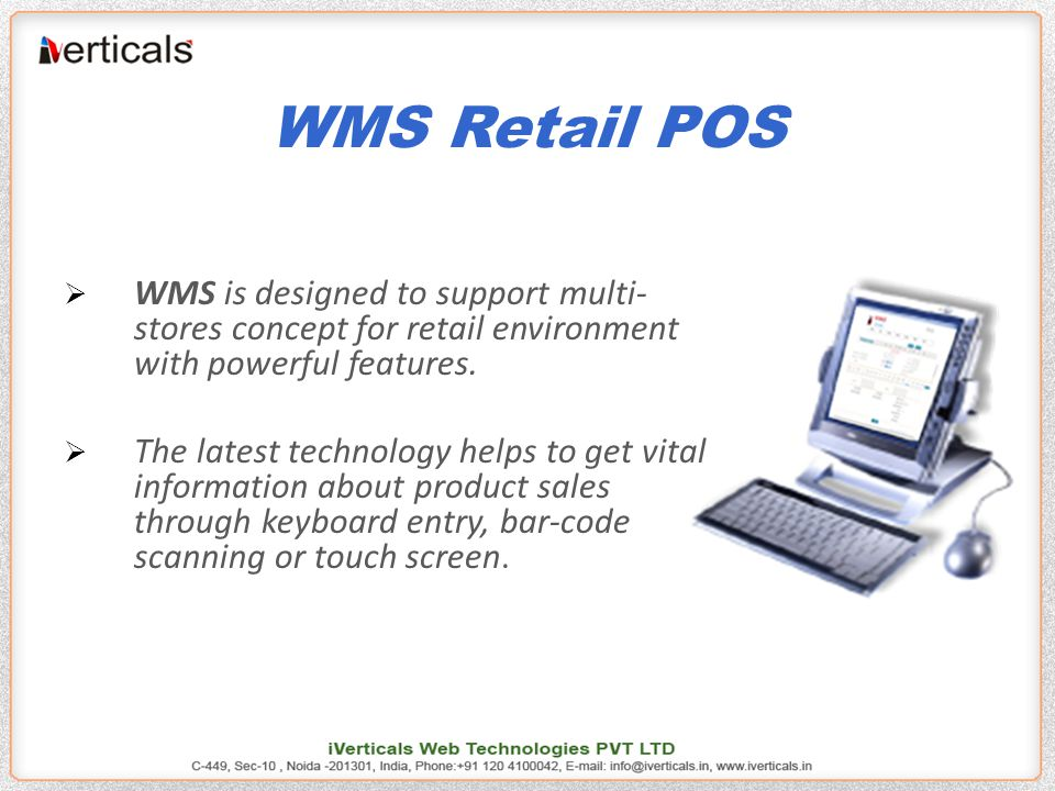 Application Modules  Point of Sales. Stock Management.