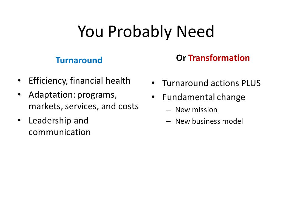 You Probably Need Turnaround Efficiency, financial health Adaptation: programs, markets, services, and costs Leadership and communication Or Transformation Turnaround actions PLUS Fundamental change – New mission – New business model