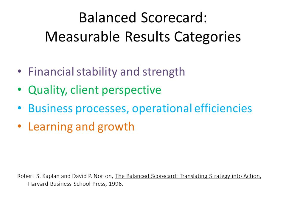 Balanced Scorecard: Measurable Results Categories Financial stability and strength Quality, client perspective Business processes, operational efficiencies Learning and growth Robert S.
