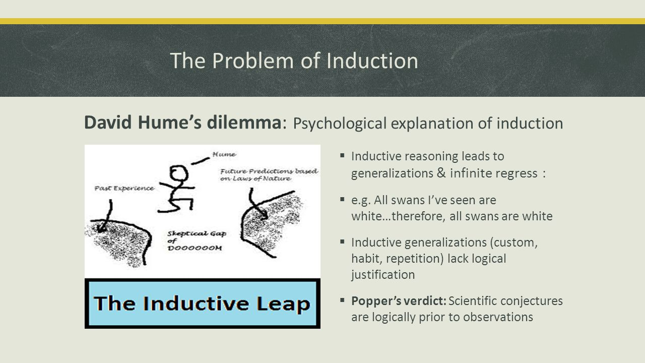 The Problem of Induction David Hume's dilemma: Psychological explanation of induction  Inductive reasoning leads to generalizations & infinite regress :  e.g.