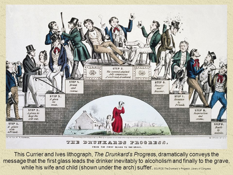 This Currier and Ives lithograph, The Drunkard's Progress, dramatically conveys the message that the first glass leads the drinker inevitably to alcoh