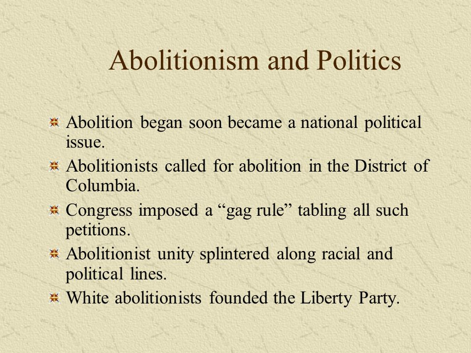 Abolitionism and Politics Abolition began soon became a national political issue. Abolitionists called for abolition in the District of Columbia. Cong