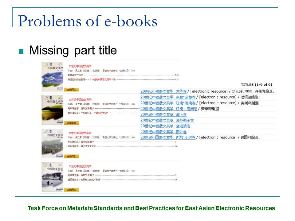 Task Force on Metadata Standards and Best Practices for East Asian Electronic Resources Problems of e-books Missing part title