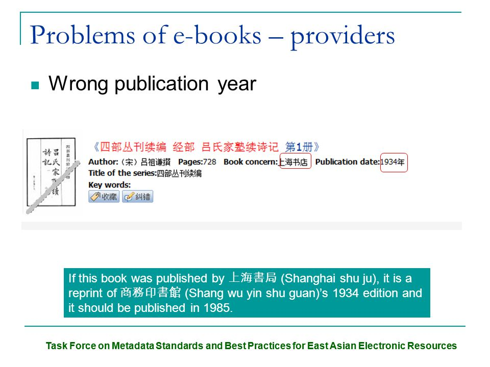 Task Force on Metadata Standards and Best Practices for East Asian Electronic Resources Problems of e-books – providers Wrong publication year If this