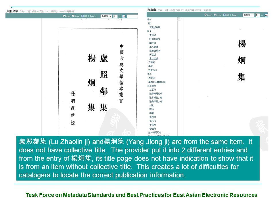 盧照鄰集 (Lu Zhaolin ji) and 楊炯集 (Yang Jiong ji) are from the same item. It does not have collective title. The provider put it into 2 different entries a