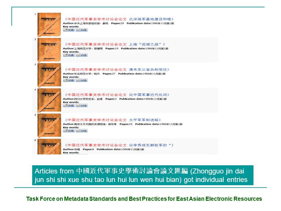 Task Force on Metadata Standards and Best Practices for East Asian Electronic Resources Articles from 中國近代軍事史學術討論會論文匯編 (Zhongguo jin dai jun shi shi xue shu tao lun hui lun wen hui bian) got individual entries