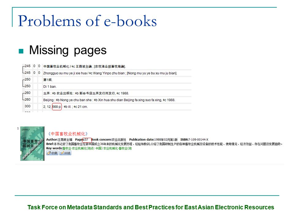 Task Force on Metadata Standards and Best Practices for East Asian Electronic Resources Problems of e-books Missing pages