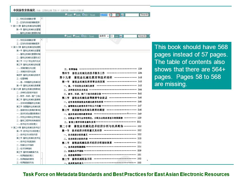 Task Force on Metadata Standards and Best Practices for East Asian Electronic Resources This book should have 568 pages instead of 57 pages. The table