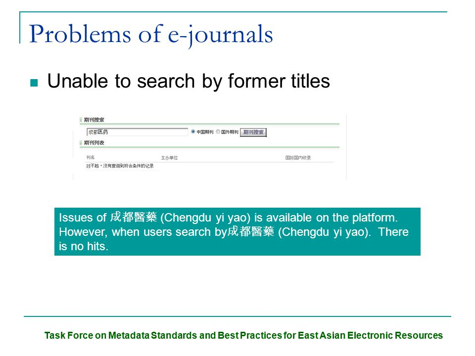 Task Force on Metadata Standards and Best Practices for East Asian Electronic Resources Problems of e-journals Unable to search by former titles Issues of 成都醫藥 (Chengdu yi yao) is available on the platform.