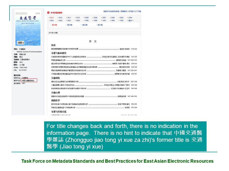 Task Force on Metadata Standards and Best Practices for East Asian Electronic Resources For title changes back and forth, there is no indication in th