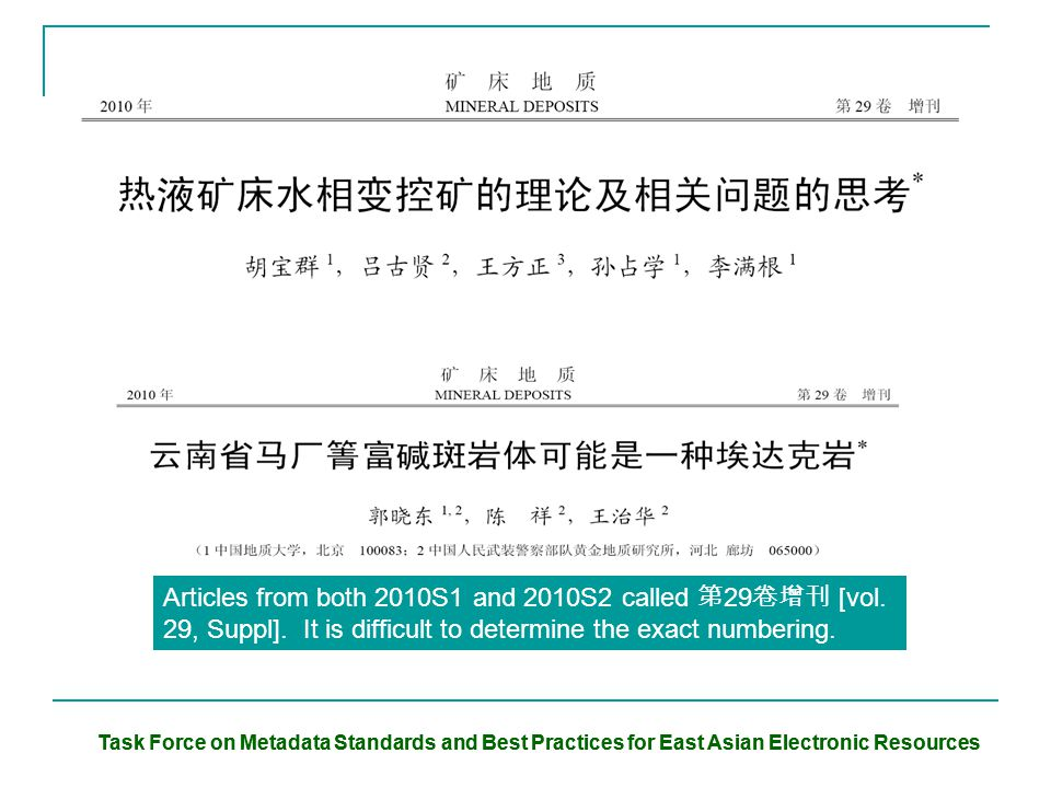 Task Force on Metadata Standards and Best Practices for East Asian Electronic Resources Articles from both 2010S1 and 2010S2 called 第 29 卷增刊 [vol. 29,