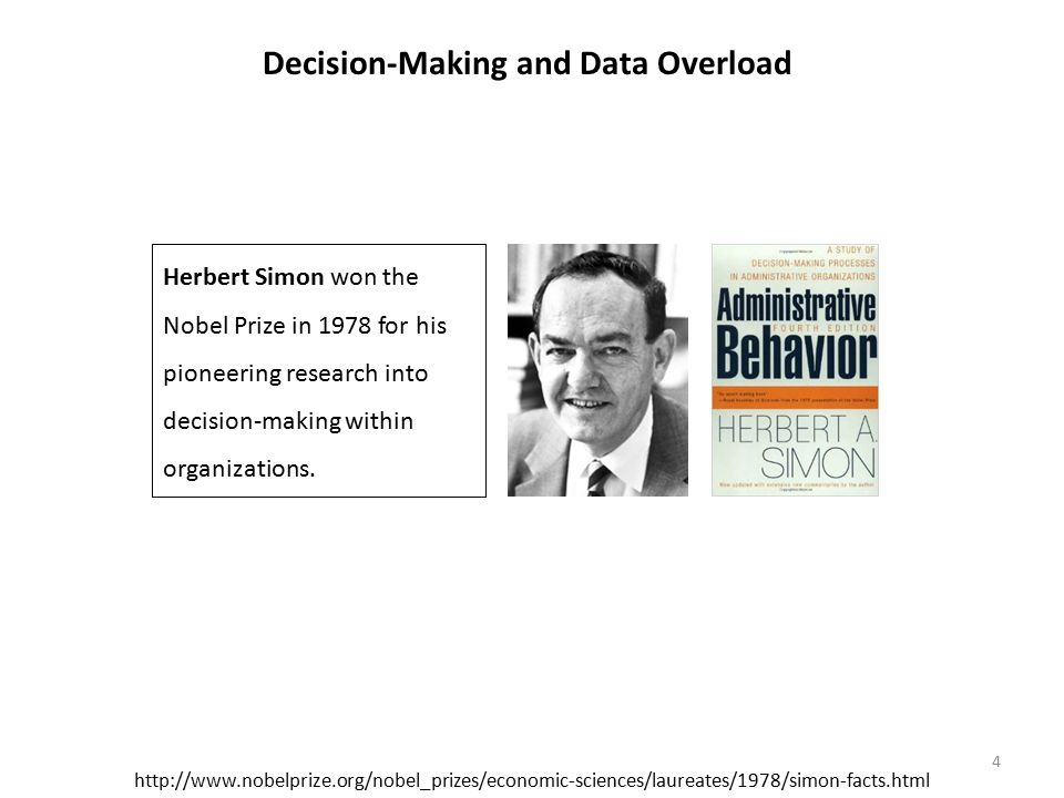 http://www.nobelprize.org/nobel_prizes/economic-sciences/laureates/1978/simon-facts.html Herbert Simon won the Nobel Prize in 1978 for his pioneering research into decision-making within organizations.
