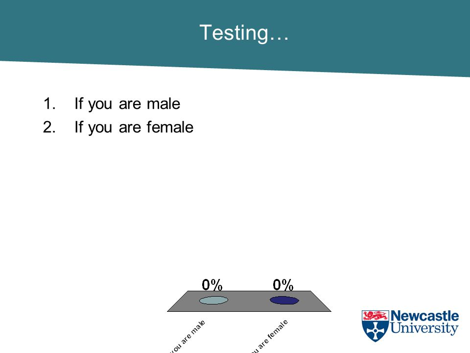Testing… 1.If you are male 2.If you are female