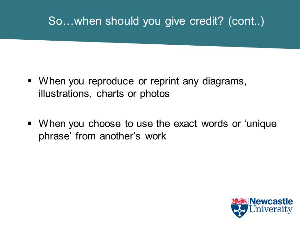 So…when should you give credit.