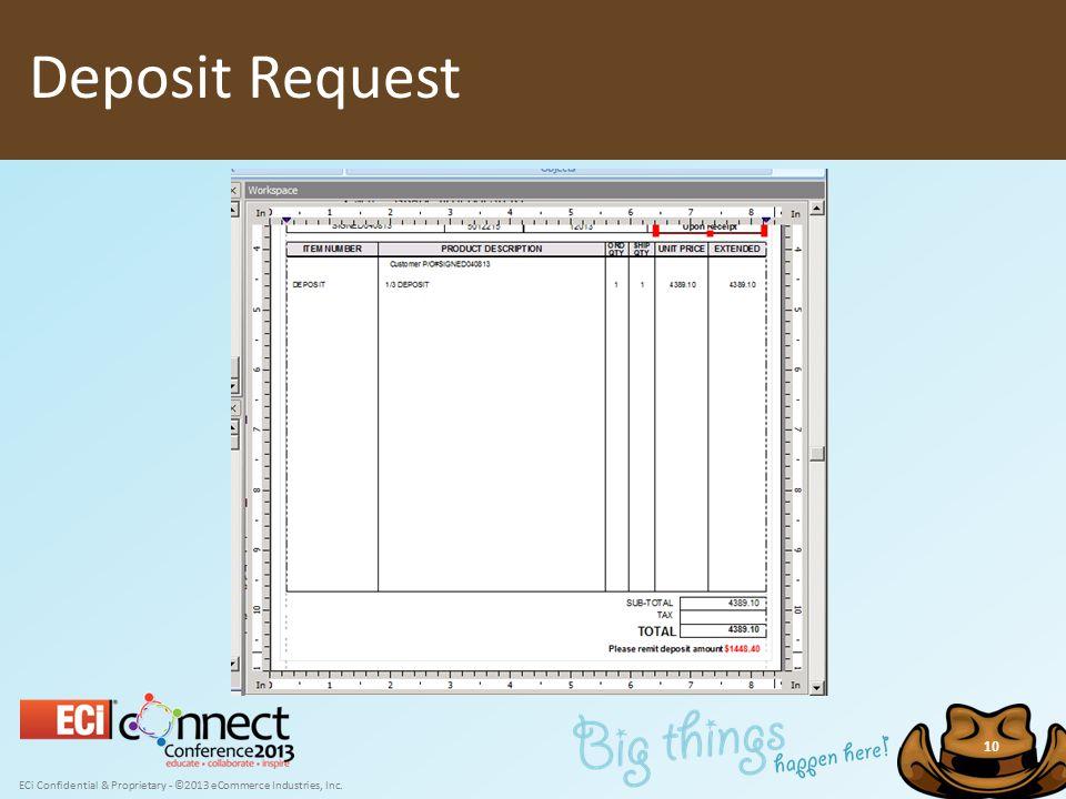 ECi Confidential & Proprietary - ©2013 eCommerce Industries, Inc. 10 Deposit Request