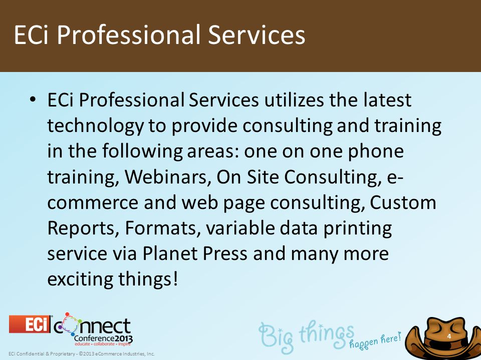 ECi Confidential & Proprietary - ©2013 eCommerce Industries, Inc. 4 ECi Professional Services utilizes the latest technology to provide consulting and