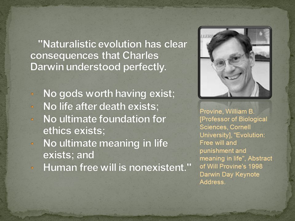 Provine, William B. [Professor of Biological Sciences, Cornell University],