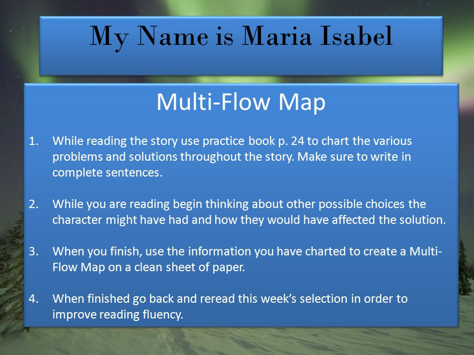 My Name is Maria Isabel Multi-Flow Map 1.While reading the story use practice book p.