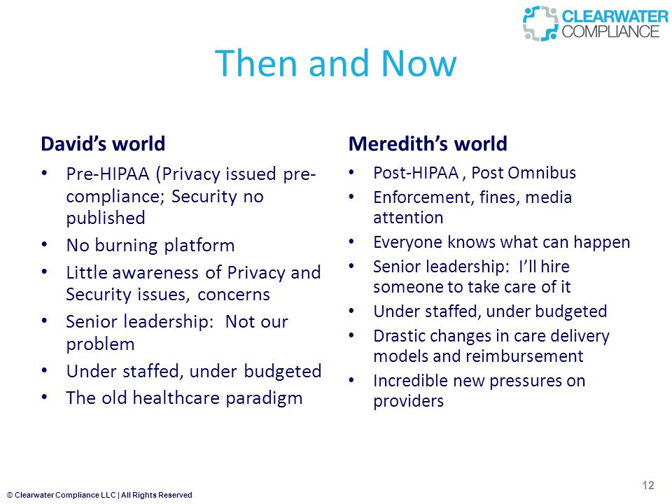 © Clearwater Compliance LLC | All Rights Reserved Then and Now David's world Pre-HIPAA (Privacy issued pre- compliance; Security no published No burning platform Little awareness of Privacy and Security issues, concerns Senior leadership: Not our problem Under staffed, under budgeted The old healthcare paradigm Meredith's world Post-HIPAA, Post Omnibus Enforcement, fines, media attention Everyone knows what can happen Senior leadership: I'll hire someone to take care of it Under staffed, under budgeted Drastic changes in care delivery models and reimbursement Incredible new pressures on providers 12