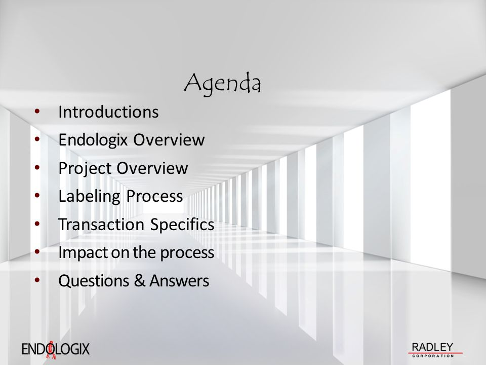 Agenda Introductions Endologix Overview Project Overview Labeling Process Transaction Specifics Impact on the process Questions & Answers