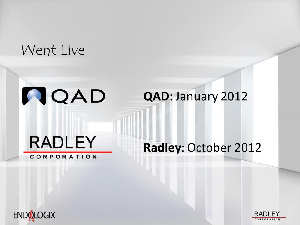 Went Live QAD: January 2012 Radley: October 2012