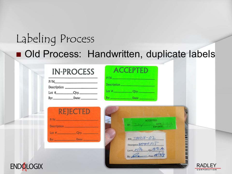 Labeling Process Old Process: Handwritten, duplicate labels