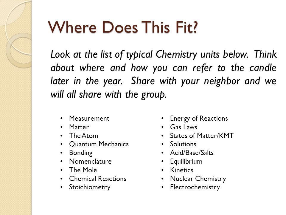 Where Does This Fit? Look at the list of typical Chemistry units below. Think about where and how you can refer to the candle later in the year. Share