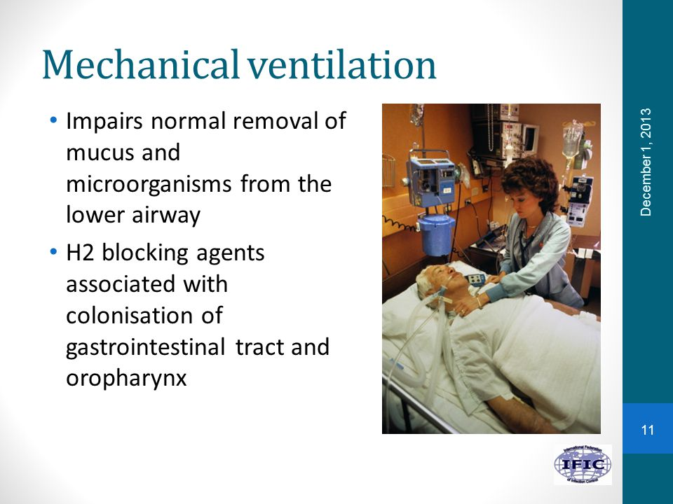 Mechanical ventilation Impairs normal removal of mucus and microorganisms from the lower airway H2 blocking agents associated with colonisation of gastrointestinal tract and oropharynx December 1, 2013 11