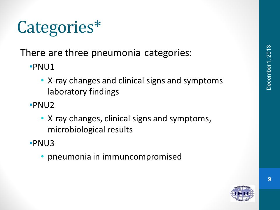 Categories* There are three pneumonia categories: PNU1 X-ray changes and clinical signs and symptoms laboratory findings PNU2 X-ray changes, clinical signs and symptoms, microbiological results PNU3 pneumonia in immuncompromised December 1, 2013 9