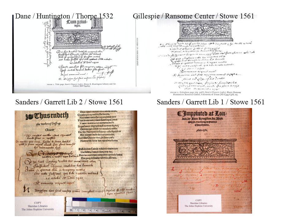 Dane / Huntington / Thorpe 1532Gillespie / Ransome Center / Stowe 1561 Sanders / Garrett Lib 2 / Stowe 1561 Sanders / Garrett Lib 1 / Stowe 1561