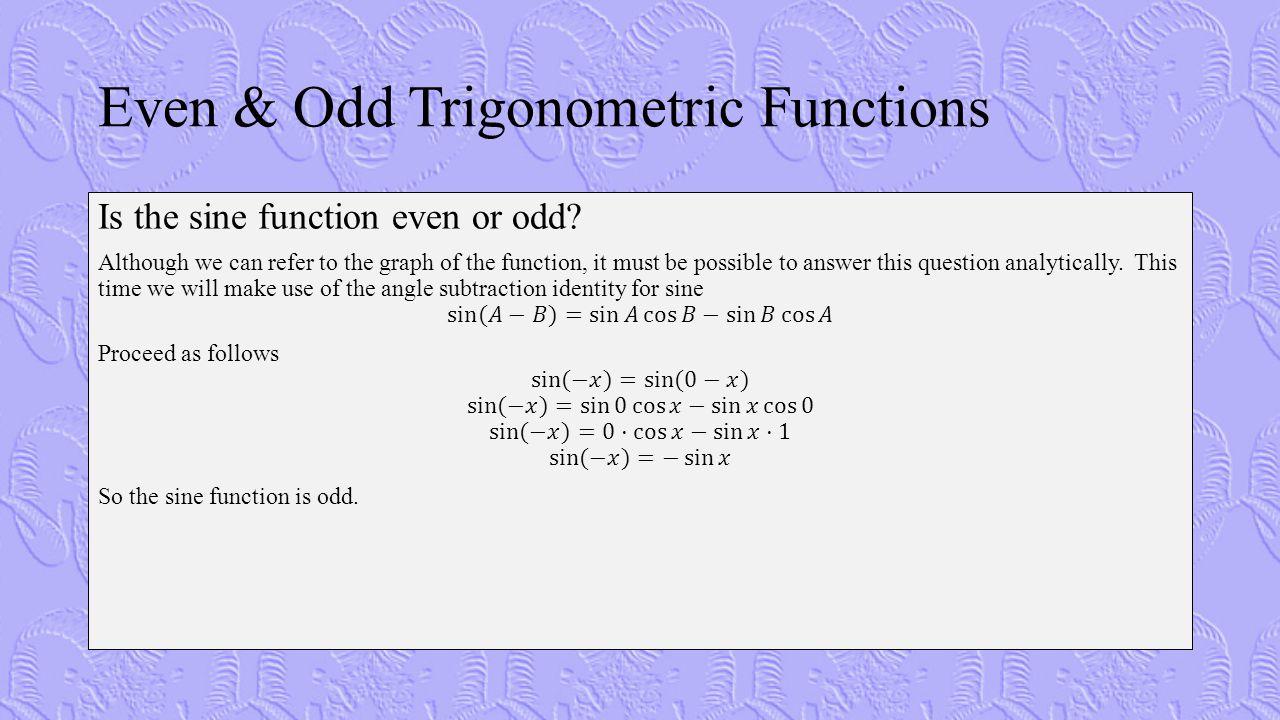 Even & Odd Trigonometric Functions