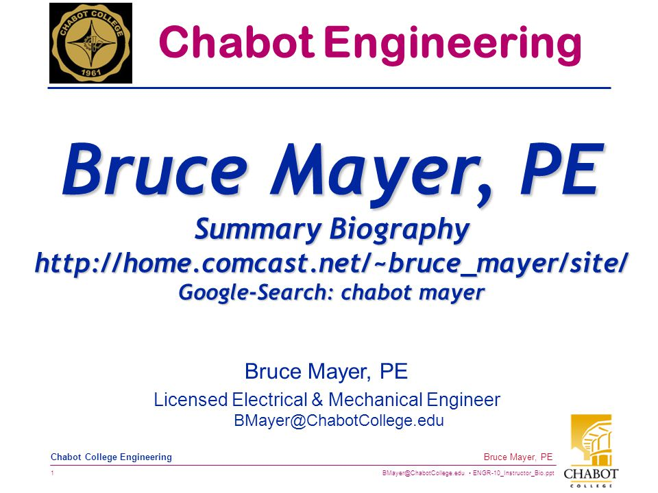 BMayer@ChabotCollege.edu ENGR-10_Instructor_Bio.ppt 2 Bruce Mayer, PE Chabot College Engineering EDUCATION  MS Electrical Engineering, Stanford University, 1991  MS Mechanical Engineering, Stanford University, 1983  BS Mechanical Engineering, University of CALifornia at Berkeley, 1978  AS Engineering, Cabrillo College, 1976 A Proud Community College Grad