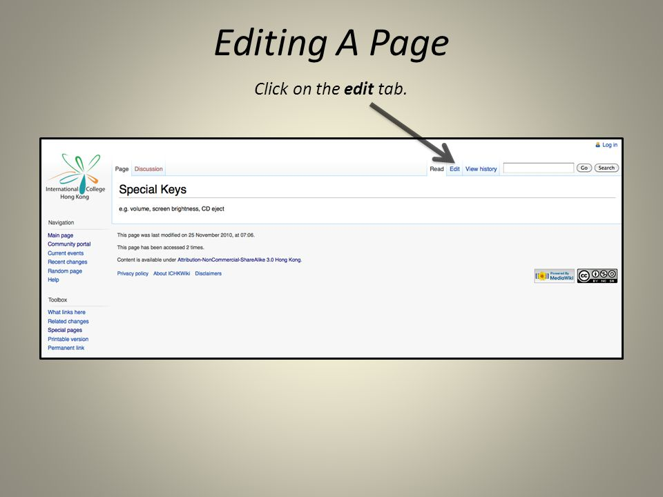Click on the edit tab. Editing A Page
