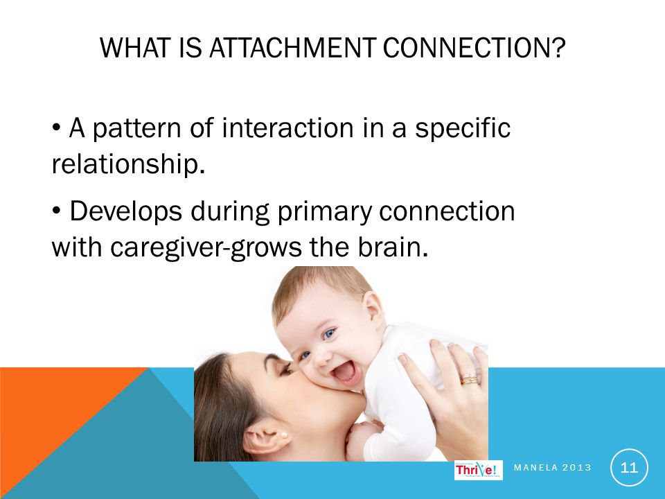 WHAT IS ATTACHMENT CONNECTION. MANELA 2013 11 A pattern of interaction in a specific relationship.