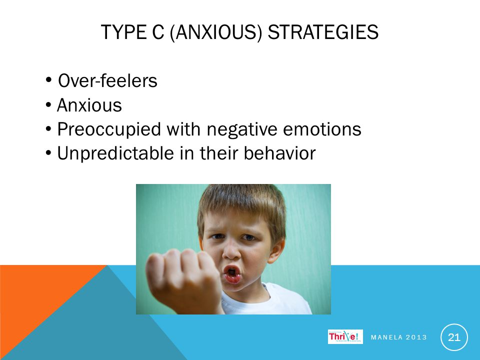 TYPE C (ANXIOUS) STRATEGIES MANELA 2013 21 Over-feelers Anxious Preoccupied with negative emotions Unpredictable in their behavior