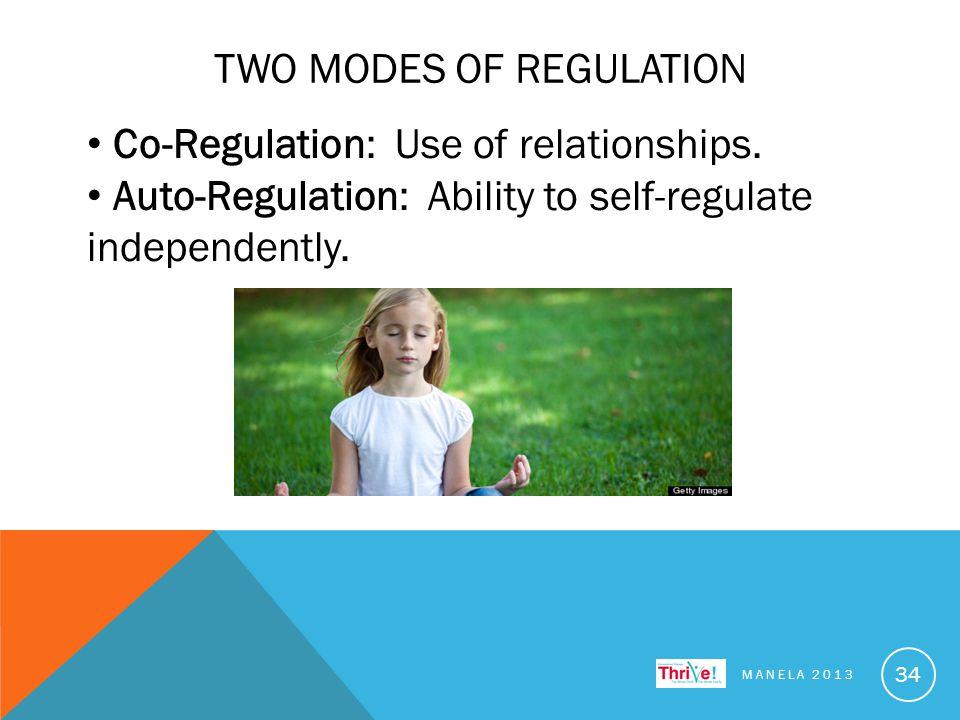 TWO MODES OF REGULATION MANELA 2013 34 Co-Regulation: Use of relationships.