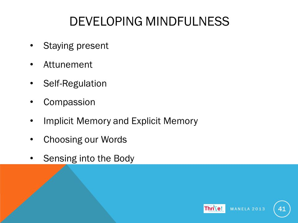 DEVELOPING MINDFULNESS Staying present Attunement Self-Regulation Compassion Implicit Memory and Explicit Memory Choosing our Words Sensing into the Body MANELA 2013 41