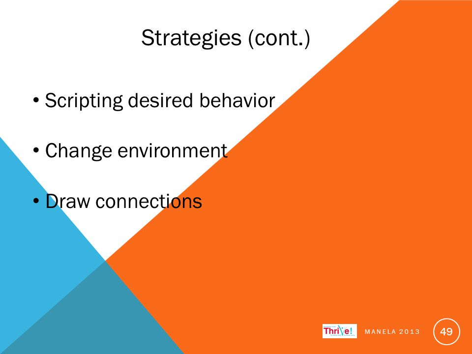 Strategies (cont.) Scripting desired behavior Change environment Draw connections MANELA 2013 49