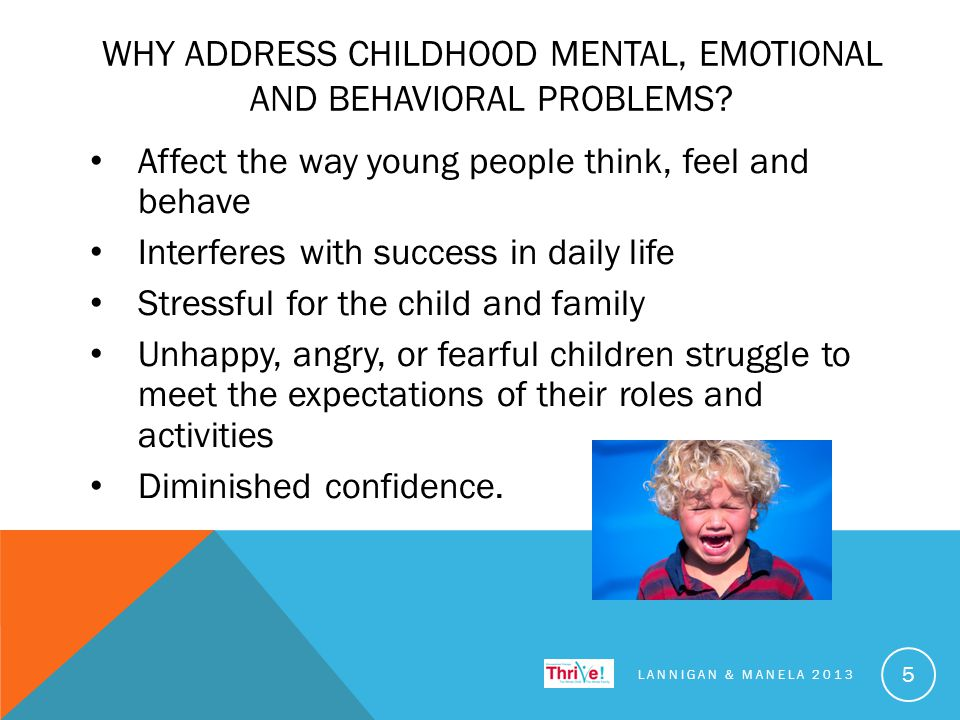 WHY ADDRESS CHILDHOOD MENTAL, EMOTIONAL AND BEHAVIORAL PROBLEMS.