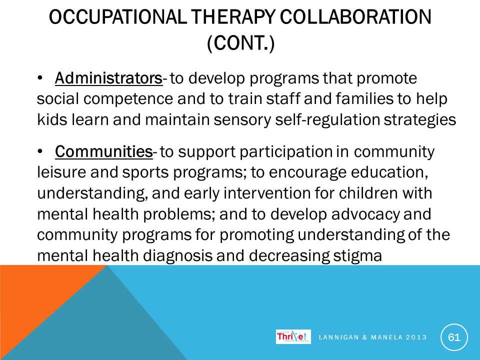 OCCUPATIONAL THERAPY COLLABORATION (CONT.) Administrators- to develop programs that promote social competence and to train staff and families to help kids learn and maintain sensory self-regulation strategies Communities- to support participation in community leisure and sports programs; to encourage education, understanding, and early intervention for children with mental health problems; and to develop advocacy and community programs for promoting understanding of the mental health diagnosis and decreasing stigma LANNIGAN & MANELA 2013 61