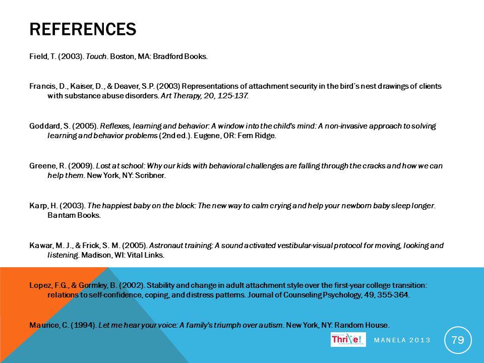 REFERENCES Field, T. (2003). Touch. Boston, MA: Bradford Books.