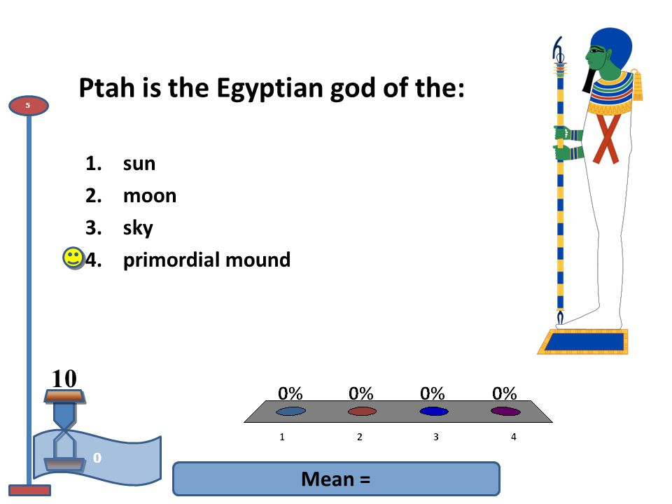 Ptah is the Egyptian god of the: Mean = 10 0 5 1.sun 2.moon 3.sky 4.primordial mound