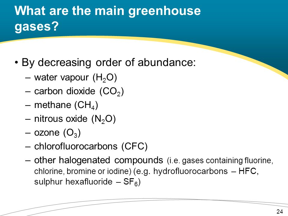 What are the main greenhouse gases.