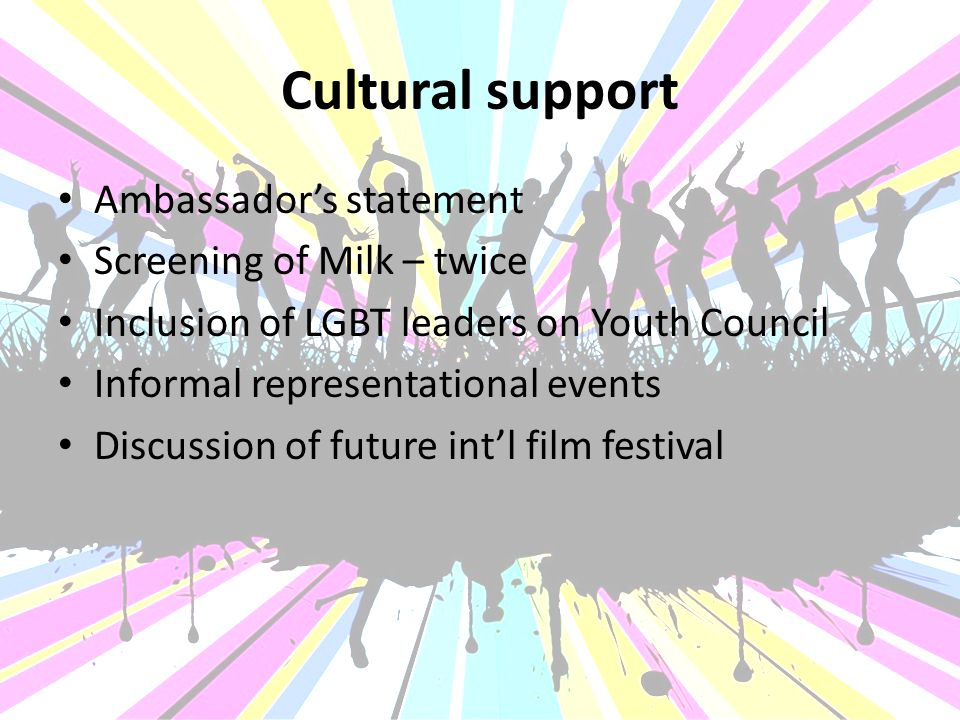 Cultural support Ambassador's statement Screening of Milk – twice Inclusion of LGBT leaders on Youth Council Informal representational events Discussion of future int'l film festival