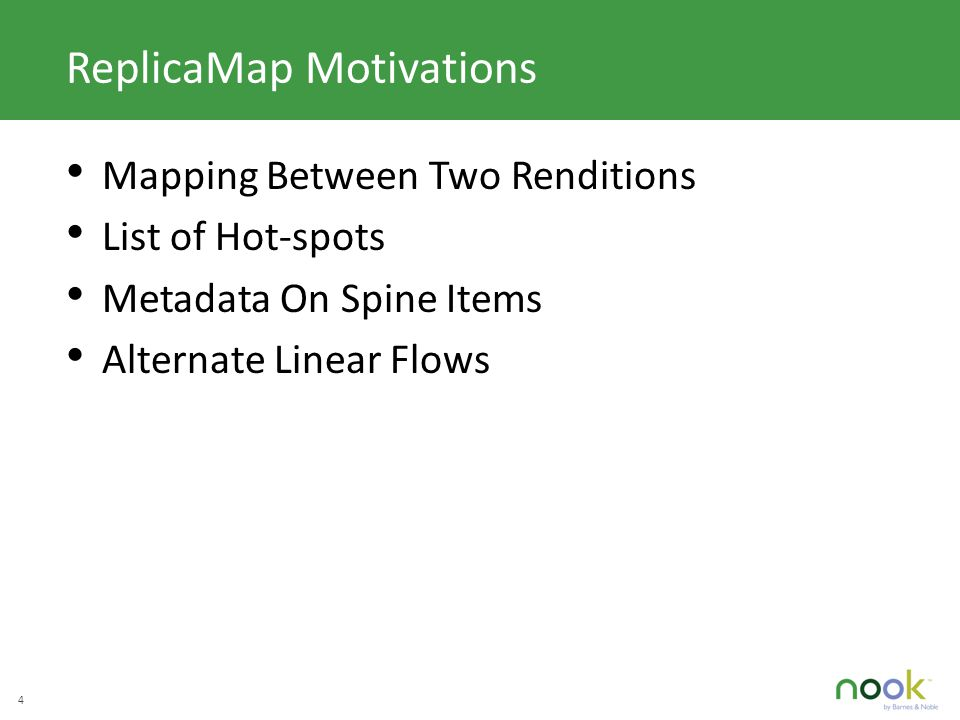 C LICK TO EDIT M ASTER TITLE STYLE 4 ReplicaMap Motivations Mapping Between Two Renditions List of Hot-spots Metadata On Spine Items Alternate Linear Flows